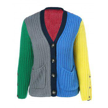 Double Pockets Color Block Cardigan