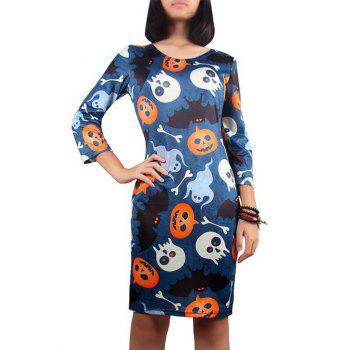 Jack Lantern Print Halloween Dress