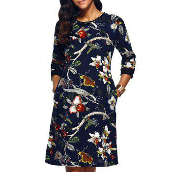 Blossom Print Side Slit Cheongsam Dress