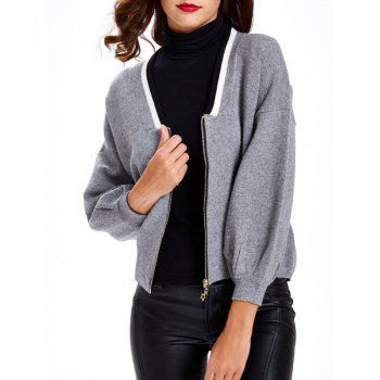 Zipper Design Textured Contrast Color Cardigan