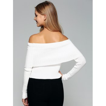 Foldover Off The Sweater épaule - Blanc S