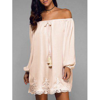 Off-The-Shoulder Laciness Tassel Dress