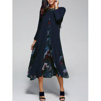 Flower Print Spliced Swing Dress