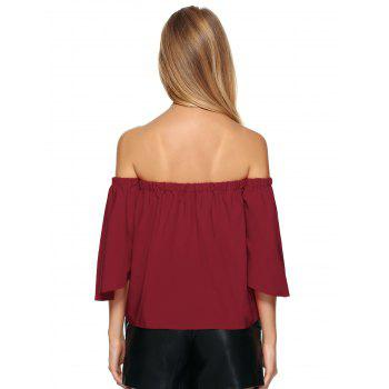 Off The Shoulder Ruffle Top - Rouge vineux M