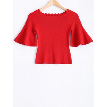 Knit Wave Cut Flare Sleeves T-Shirt