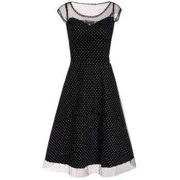 Graceful Sleeveless Scoop Neck Polka Dot See-Through Voile Spliced Women's Dress
