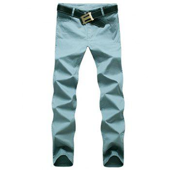 Zipper Fly Five-Pocket Plain Casual Pants