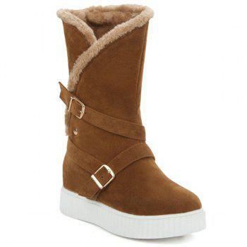 Suede Double Buckle Mid Calf Boots