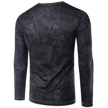 Round Neck Long Sleeves 3D Antelope Print T-Shirt - BLACK GREY M