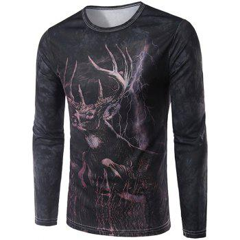 Round Neck Long Sleeves 3D Antelope Print T-Shirt