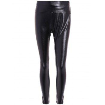 High Waist PU Leather Fleece Leggings
