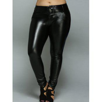 High Waist PU Leather Buttoned Leggings