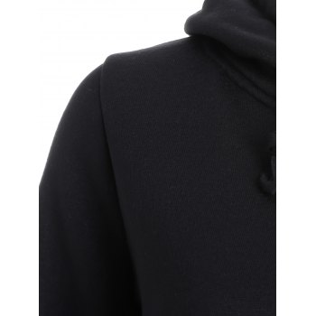 Flocking Letter Print Graphic Hoodie - BLACK S