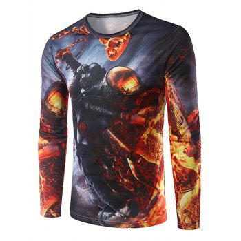 Crew Neck Long Sleeve 3D Soldier Flame Print T-Shirt