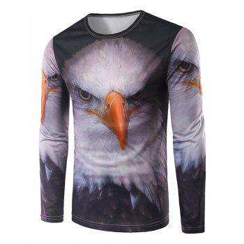Crew Neck Long Sleeve 3D Eagle Print T-Shirt