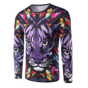 Crew Neck Long Sleeve 3D Colorful Geometric and Tiger Print T-Shirt