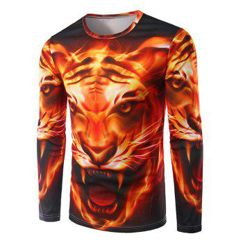 Crew Neck Long Sleeve 3D Tiger Flame Print T-Shirt