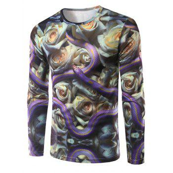Crew Neck Long Sleeve 3D Snake and Flowers Print T-Shirt