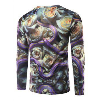 Crew Neck Long Sleeve 3D Snake and Flowers Print T-Shirt - COLORMIX M