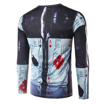 Crew Neck Long Sleeve 3D Abstract Poker Print T-Shirt - COLORMIX L