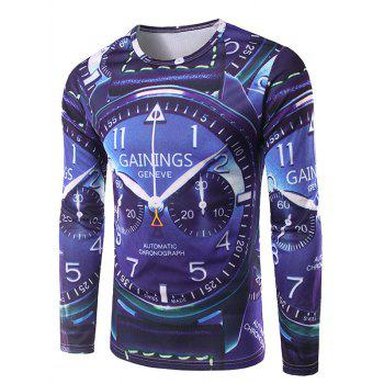 Crew Neck Long Sleeve 3D Watch Print T-Shirt