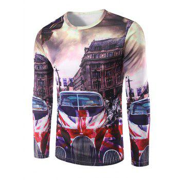 Crew Neck Long Sleeve 3D Car and Building Print T-Shirt