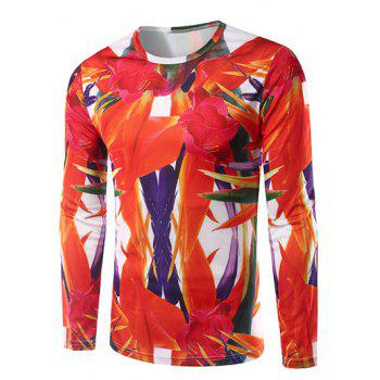 Crew Neck Long Sleeve 3D Abstract Floral Print T-Shirt