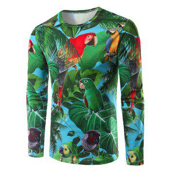 Crew Neck Long Sleeve 3D Leaves and Parrot Print T-Shirt