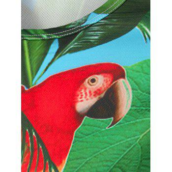 Crew Neck Long Sleeve 3D Leaves and Parrot Print T-Shirt - GREEN M