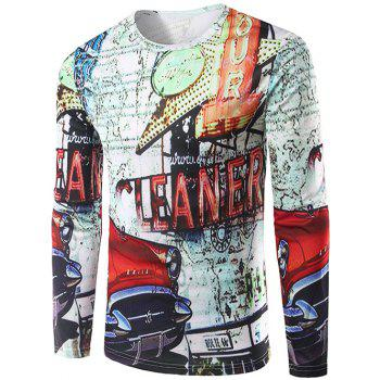 Crew Neck Long Sleeve 3D Car and Signboard Print T-Shirt