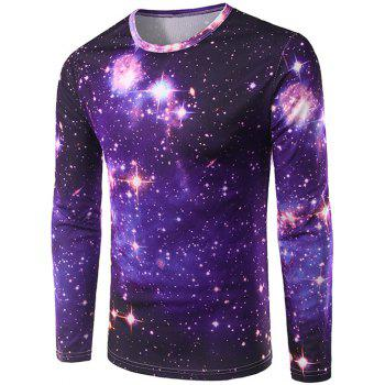 Crew Neck Long Sleeve 3D Starry Sky Print T-Shirt