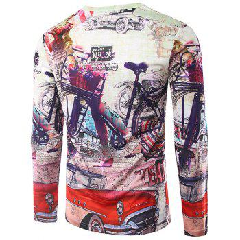 Crew Neck Long Sleeve 3D Car and Bicycle Print T-Shirt - COLORMIX M