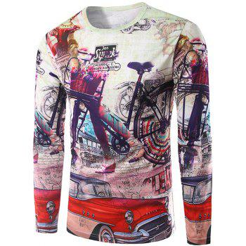 Crew Neck Long Sleeve 3D Car and Bicycle Print T-Shirt