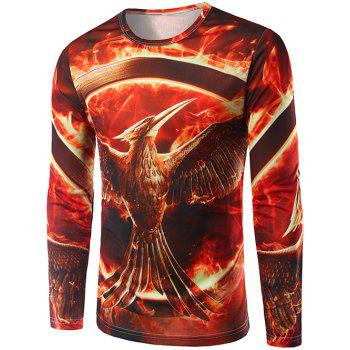 Crew Neck Long Sleeve 3D Flame Bird Print T-Shirt