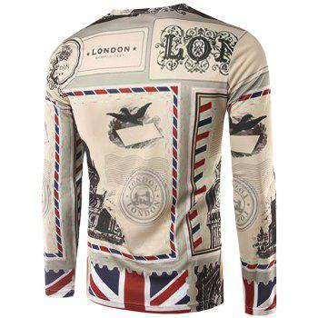 Crew Neck Long Sleeve 3D England Stamp Print T-Shirt - COLORMIX 2XL