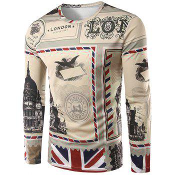 Crew Neck Long Sleeve 3D England Stamp Print T-Shirt