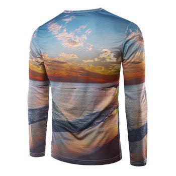 Crew Neck Long Sleeve 3D Sandbeach Print T-Shirt - COLORMIX M