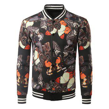 Stripe Splicing Stand Collar 3D Butterfly Print Jacket