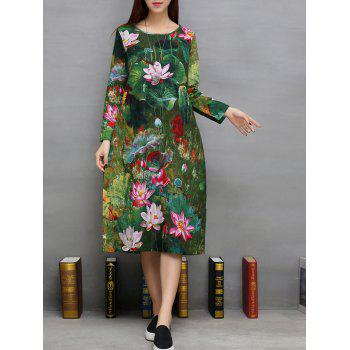 Lotus Print Pockets Design A-Line Dress