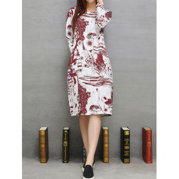 Loose Ink-Painting Shift Dress - DEEP RED XL