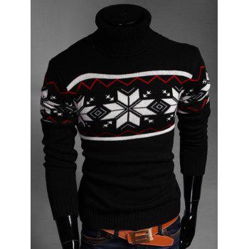 Turtleneck Zigzag Geometric Pattern Long Sleeve Sweater