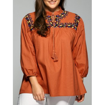 String Printed Fringed Blouse