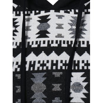 Geometric Pattern Front Pocket Hoodie - WHITE/BLACK L