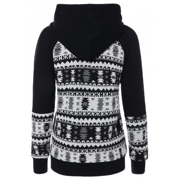 Geometric Pattern Front Pocket Hoodie - WHITE/BLACK M