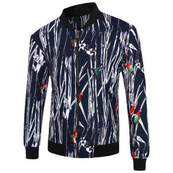 Stand Collar Zip-Up 3D Tree Branch and Bird Print Jacket