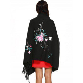 Flower Embroidery Fringed Cape