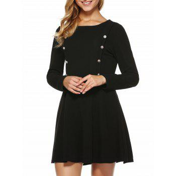 Button Embellished Slimming Dress - BLACK M