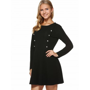 Button Embellished Slimming Dress - M M