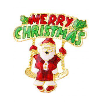 Tree Leaf Santa Merry Christmas Brooch