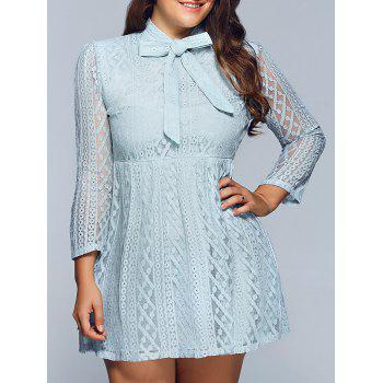 Plus Size Bow Neck Sheer Lace Dress